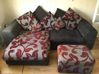 SCS SOFA CORNER / L with footstool purple / deep red grey