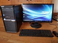"""Acer Veriton Desktop Computer + 22"""" Monoitor keyboard & Mouse"""