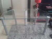 Glass and silver 3 tier t.v stand