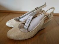 Debut lace sling back ivory shoes