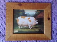 Framed Naive and Folk Art Picture Print - Pig and Chicken