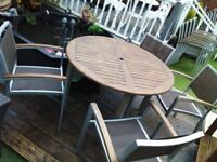 Wooden garden table 4 rattan chairs lots