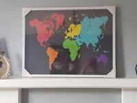 World Map Framed Wall Art Print 80 x 60cm Brand New in Packaging