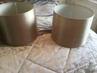 Two Large Champagne colour lamp shades