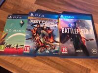 PS4 Games. Battlefield 1, Just Cause 3 & No Man's Sky