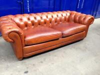 DFS TAN DISTRESSED LEATHER CHESTERFIELD SOFA OVERSIZED SETTEE