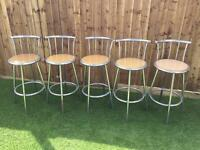 5 Bar Stools Chrome with Wooden Base