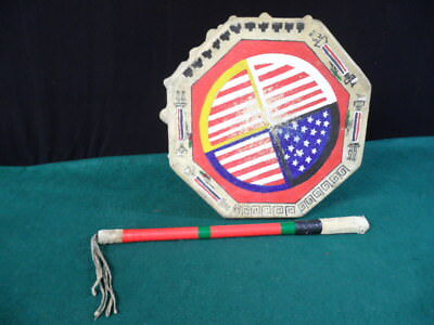 Native American Octagonal Drum with Stick