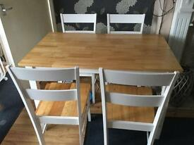 Solid wood 2 tone white and pine table and chairs.
