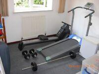 Rowing Machine & Treadmill (Self-Powered) & 3-Bar Weights