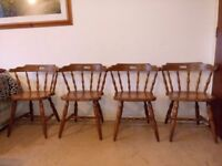 Set Of 4 Vintage Pine Country Style Spindle Backed Kitchen Chairs