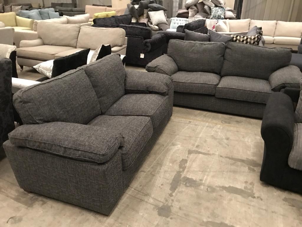 New Grey 3 2 Seater Fabric Tweed Sofa Suite