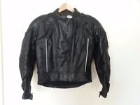 Ladies motor bike black leather jacket size 10. And black leather trousers size 10
