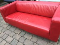 Red ikea klippan sofa pleather