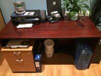 "Free 72cm (28.5"") x 63.5 (25"") x 140cm (55)"" Dark Wood Effect Desk"