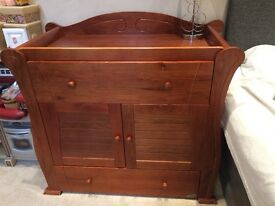 Baby child walnut solid wood chest changer