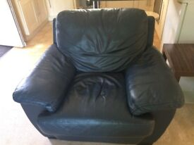 3 seater and chair navy leather sofa