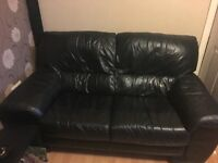 2 seater black leather settee x2