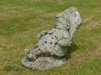 Stunning Vintage Large Cast Stone Resting Garden Gnome in Chair 38cm Tall
