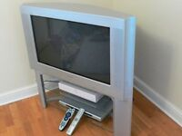 "Sony 32"" TV (old style), stand, DVD player and Sky + Box"