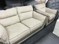 New/Ex Display Dfs Fabric 2 Seater Sofa + 1 Seater Sofa