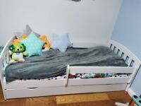 Children's white bed with mattress once used like new