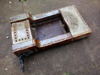 Vintage are cast iron - ceramic gas fireplace made by Parkinson