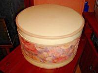 1 x large 38cm luxury round sturdy hat storage box, vintage pink cream, lined with brown velvet