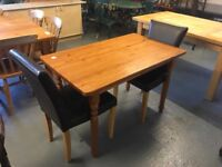 PINE TABLE WITH TWO CHAIRS