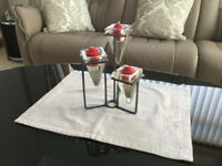 Pretty Glass and Metal Candleholders with Candles Included - Only £1.50