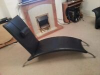 Blue leather S-shaped chaise longue
