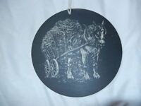 Beautifully Engraved Slate Plaque with Cart / Shire Horse design: Round/circle