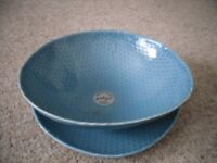 turquoise/aqua large bowl with matching saucer