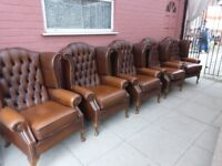 Five Tanny/Brown Leather Chesterfield Queen Ann Wing/Armchairs