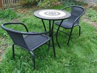 rod iron mosaic garden table and two chairs heavy duty commercial grade