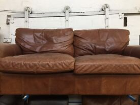 Large brown leather sofa and chair