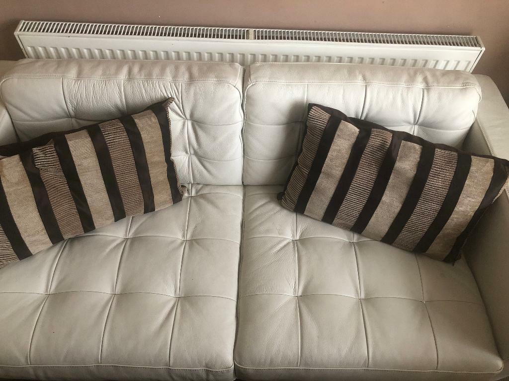 Genuine Cream Leather Sofa With Cushions In Croydon London Gumtree