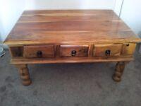 Sheesham 3 drawer coffee table with mathching side tables £100