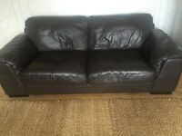 Brown leather sofa 3 seater and 2 seater