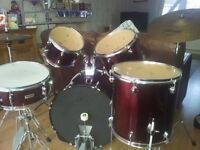 Excellent full drum kit for sale with stool,music stand and rock n pop grade books