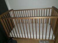 LIKE NEW - Babies R Us 3 Height adjustable cot & Mattress