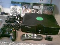 Xbox console and games. Original model