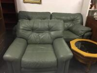 Green leather sofa and chair can deliver