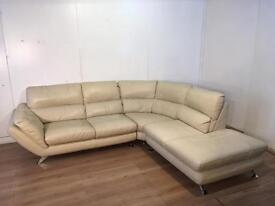 Cream real leather corner sofa with free delivery within 10 miles