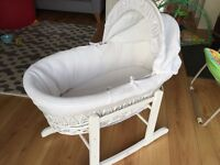 Beautiful white wicker wooden Moses basket 6 months old used for 1 baby cones with rocking stand VGC