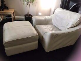 Italian Cream leather sofa, armchair and large footstall