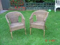 Pair of Matching Natural Wicker Chairs. Can Deliver.