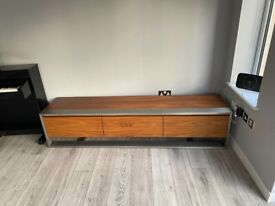 Immaculate Dwell Media / TV Unit Walnut and Brushed Steel