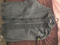 Stone island grey zip up cardigan