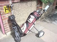 2 FOLD UP TROLLEYS, 3 BAGS AND GOLF CLUBS